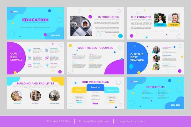 Modello di presentazione powerpoint per l'istruzione e presentazioni google