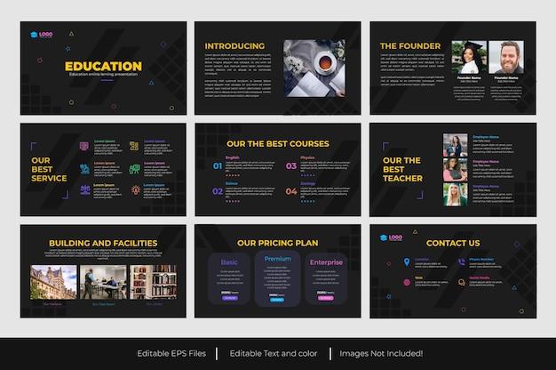 Progettazione del modello di diapositiva di presentazione di powerpoint per l'istruzione