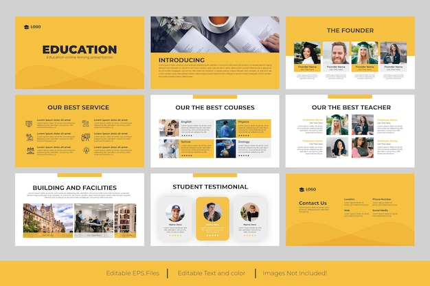 Istruzione diapositive di presentazione powerpoint design
