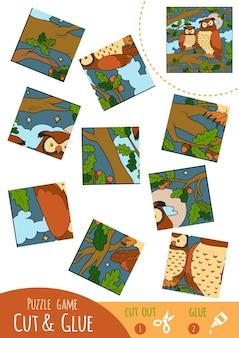 Gioco di puzzle educativo per bambini, due gufi. usa forbici e colla per creare l'immagine.