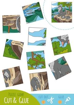 Gioco di puzzle educativo per bambini, famiglia wolf. usa forbici e colla per creare l'immagine.