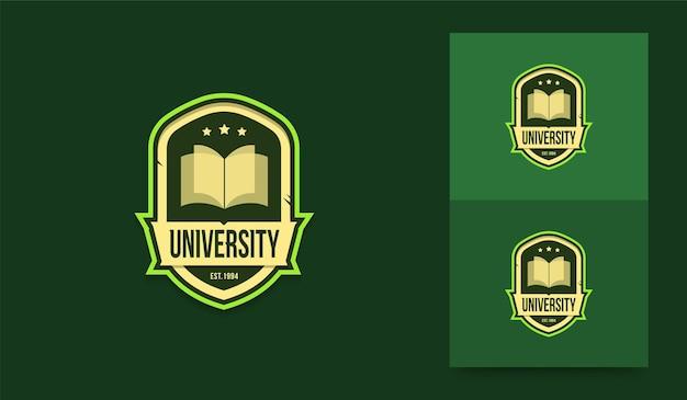 Modello di logo della scuola di istruzione, distintivo di simbolo di identità di università e college