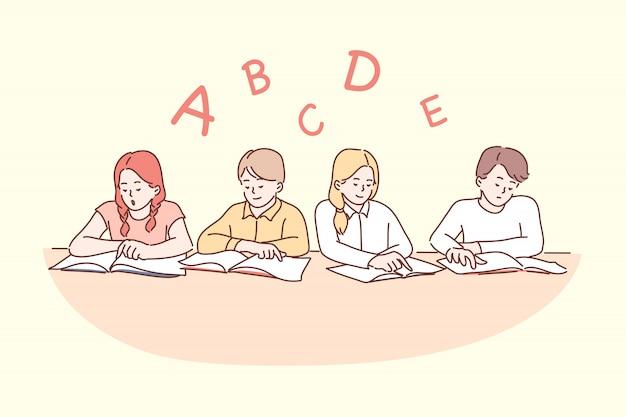 Istruzione, scuola, lettura, infanzia, concetto di amicizia