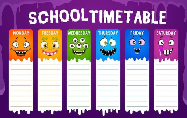 Orario scolastico di istruzione o programma degli studenti con facce di mostri dei cartoni animati.