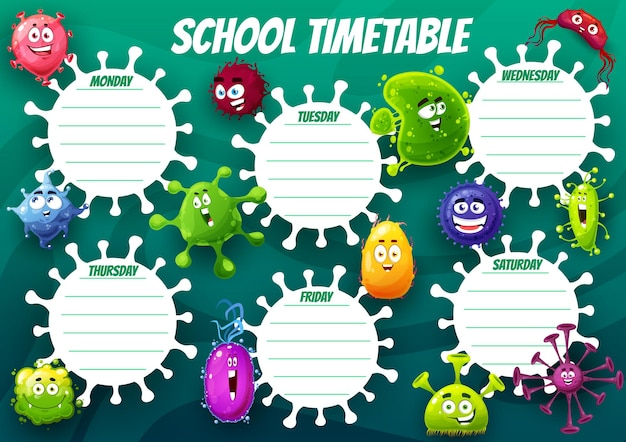 Modello di orario scolastico di formazione con cellule di virus dei cartoni animati