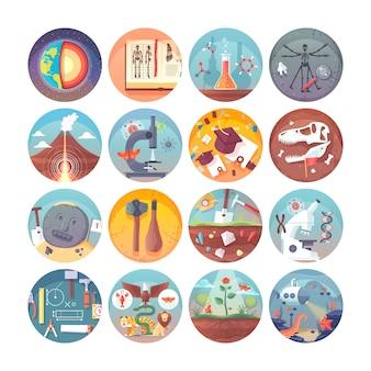 Set di icone cerchio piatto educazione e scienza. materie e discipline scientifiche. collezione di icone vettoriali.