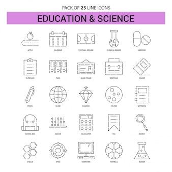 Set di icone di educazione e scienza - 25 stile contorno tratteggiato