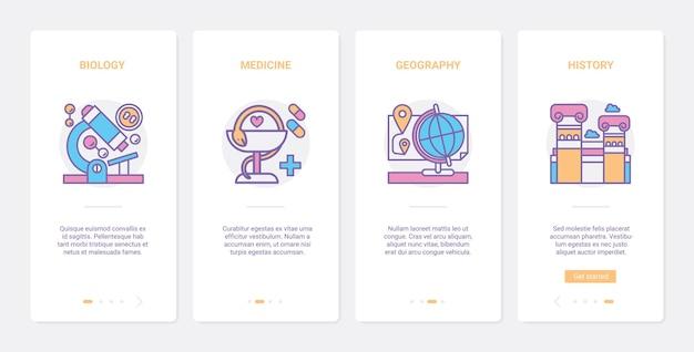 Set di schermate della pagina dell'app mobile di onboarding ux di simboli di linea di scienza dell'istruzione