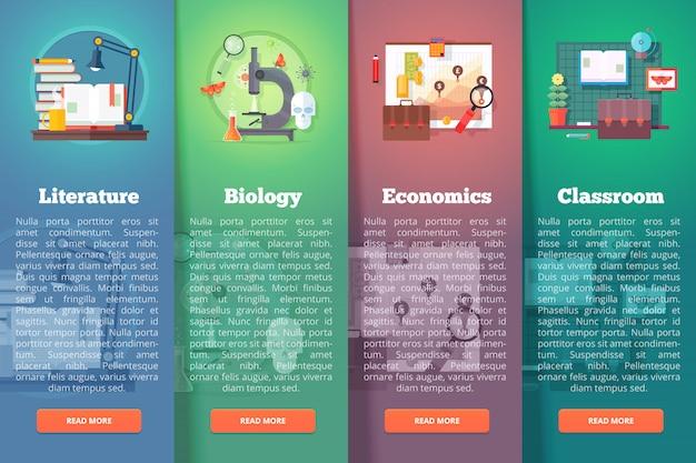Concetti di layout verticale di educazione e scienza. stile moderno.