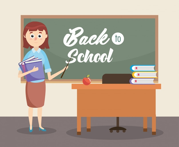 Insegnante di educazione in classe con libri e mela