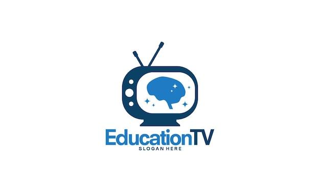 Concetto di design del logo della televisione di formazione, modello di logo del cervello e della televisione