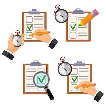 Modello di test di istruzione con lente d'ingrandimento del cronometro a matita e lista di controllo
