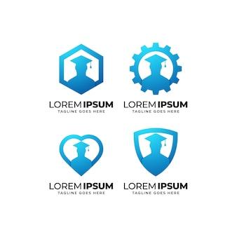 Set di design del logo per l'istruzione e la formazione