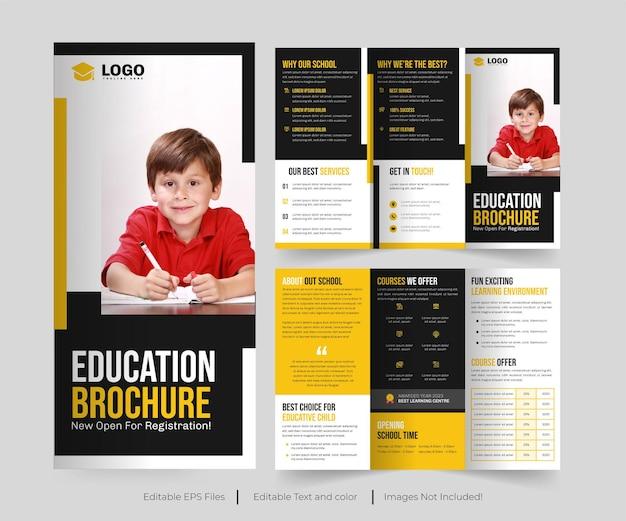 Brochure a tre ante per l'istruzione o design dell'opuscolo per l'istruzione