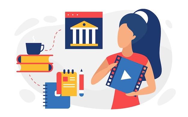 Webinar di tutorial video didattici per lo studio della finestra del lettore video di una studentessa Vettore Premium