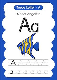 Foglio di lavoro educativo per tracciare l'alfabeto con la lettera a angelfish