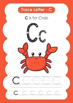 Foglio di lavoro educativo per tracciare l'alfabeto con la lettera c crab
