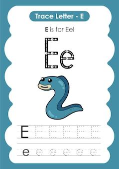 Foglio di lavoro educativo per tracciare l'alfabeto con la lettera e eel