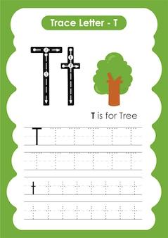 Foglio di lavoro educativo per tracciare l'alfabeto con la lettera t tree
