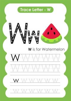 Foglio di lavoro educativo per tracciare l'alfabeto con la lettera w anguria