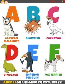 Raccolta di alfabeto del fumetto educativo con gli animali