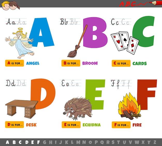 Lettere di alfabeto del fumetto educativo per i bambini dalla a alla f.