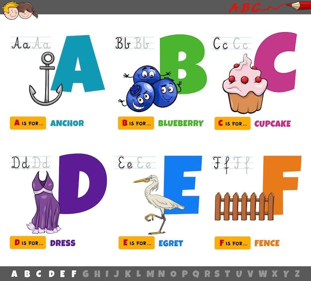 Lettere dell'alfabeto del fumetto educativo per i bambini dalla a alla f.