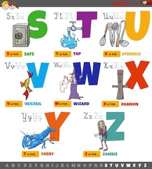 Lettere dell'alfabeto dei cartoni animati educativi per bambini impostate dalla s alla z