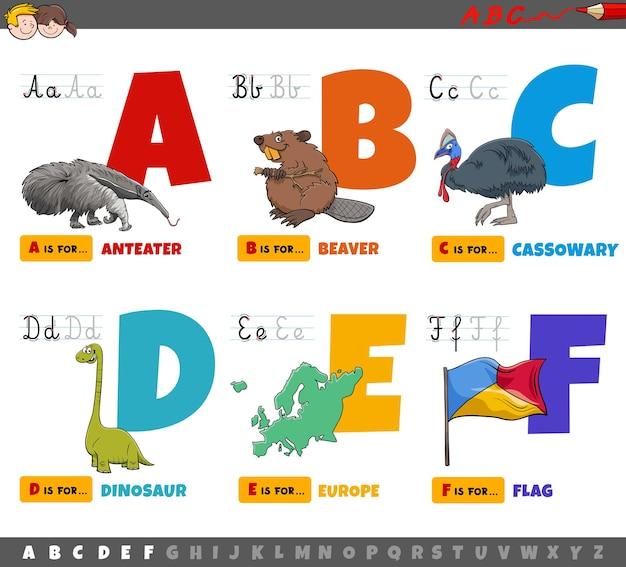 Lettere dell'alfabeto dei cartoni animati educativi per bambini dalla a alla f.