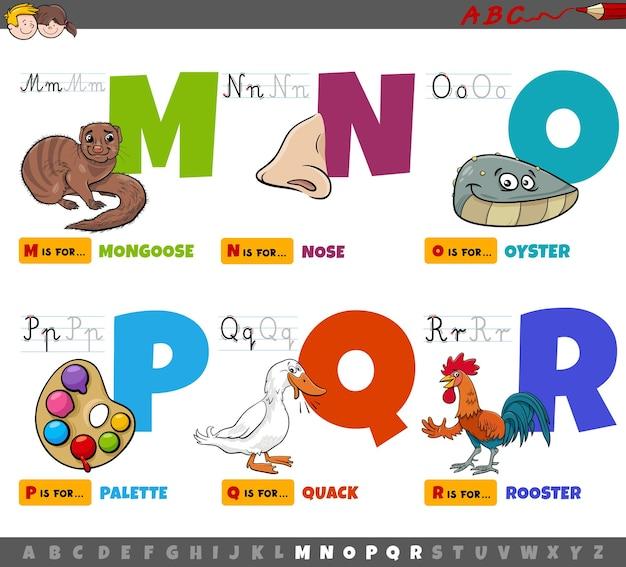Lettere dell'alfabeto dei cartoni animati educativi per bambini dalla m alla r. Vettore Premium