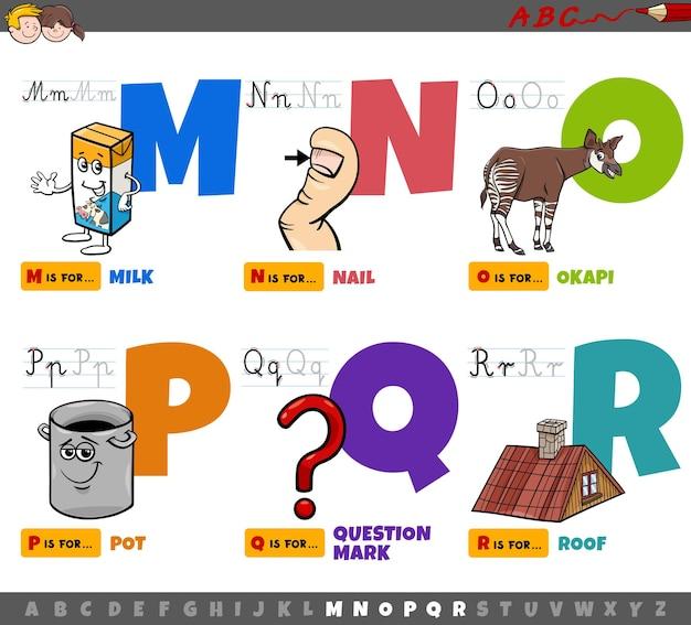 Lettere dell'alfabeto dei cartoni animati educativi per bambini da m a r Vettore Premium