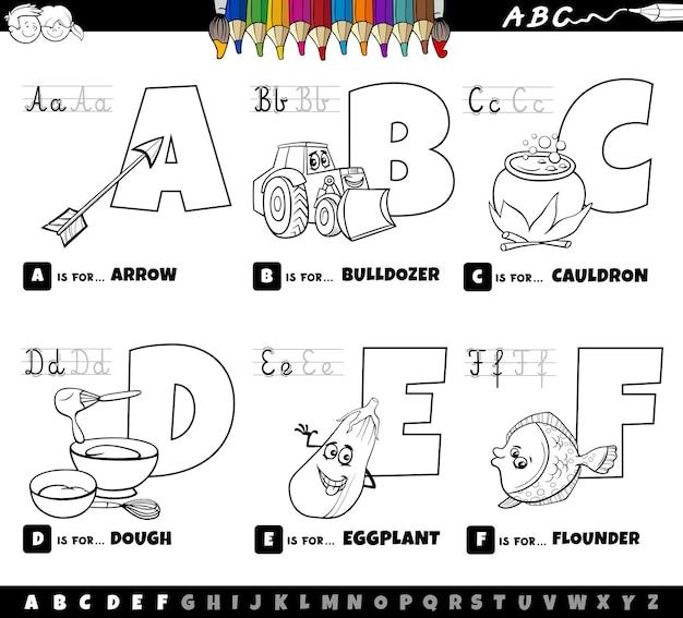 Set di lettere dell'alfabeto dei cartoni animati educativi dalla a alla f pagina del libro da colorare