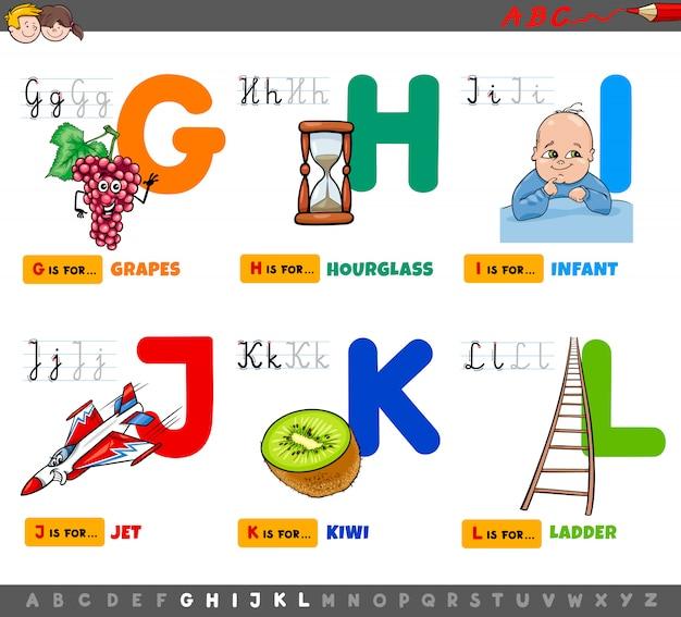 Lettere dell'alfabeto educativo del fumetto messe per i bambini
