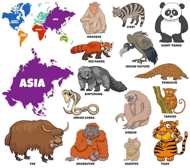 Illustrazione del fumetto educativo del set di specie animali asiatiche e mappa del mondo
