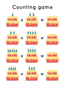 Gioco di conteggio educativo per bambini in età prescolare. torta di compleanno sveglio del fumetto con le candele.