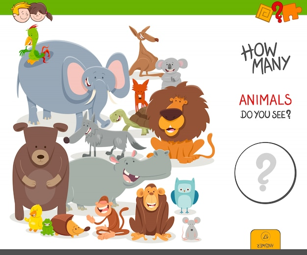 Gioco educativo di conteggio con personaggi animali