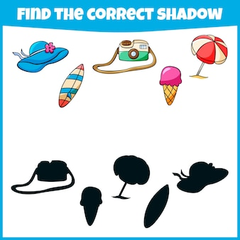 Gioco educativo per bambini trova il minigioco delle ombre corretto per i bambini