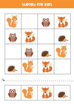 Gioco educativo per bambini. sudoku con animali del bosco.