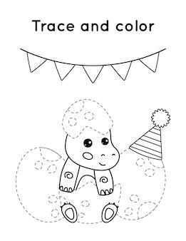 Gioco educativo per bambini. traccia e colora. la festa di compleanno dei piccoli dinosauri.