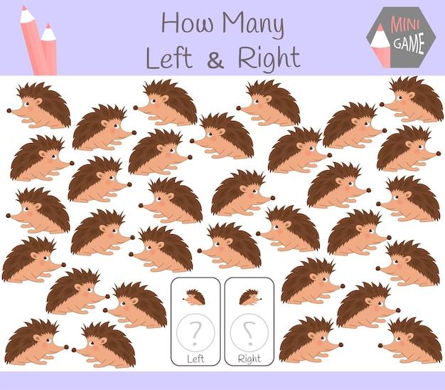 Gioco educativo di conteggio delle immagini orientate a sinistra e a destra per bambini con riccio.