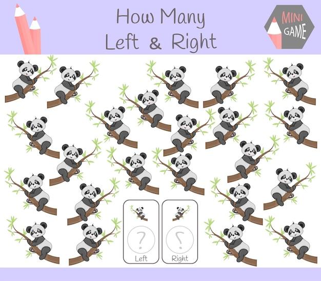 Gioco educativo di conteggio delle immagini orientate a sinistra e a destra per bambini con panda.