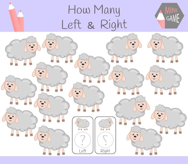 Gioco educativo di conteggio delle immagini orientate a sinistra e a destra per bambini con pecore.