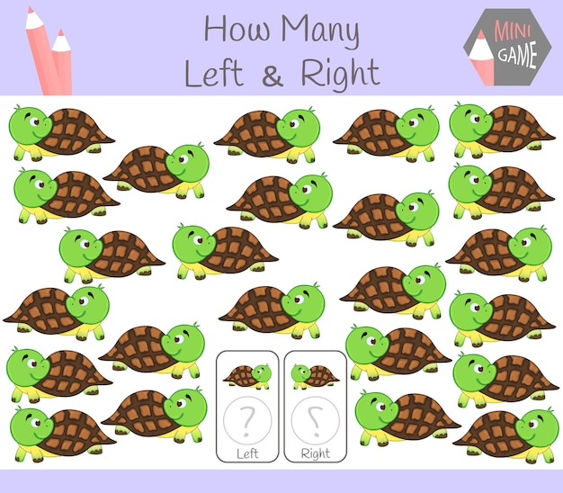 Gioco educativo di conteggio delle immagini orientate a sinistra e a destra per bambini con tartaruga.