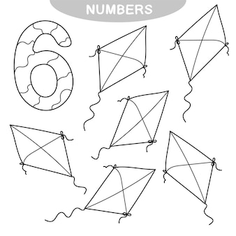 Gioco educativo - imparare i numeri. numero sei. libro da colorare per bambini in età prescolare. sei aquiloni
