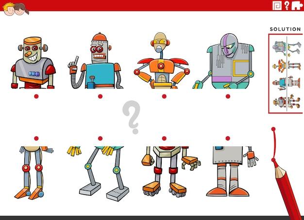 Gioco educativo di abbinamento di metà di immagini con personaggi di robot dei cartoni animati