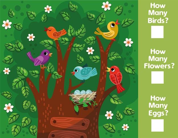 Gioco matematico educativo per bambini quanti uccelli fiori uova riesci a contare