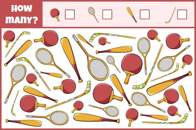 Gioco matematico educativo conta quante attrezzature sportive conteggio gioco per bambini