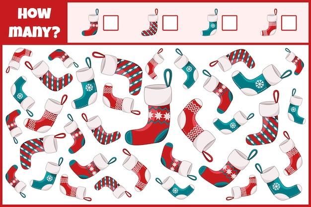 Gioco matematico educativo. conta il numero di calze natalizie.