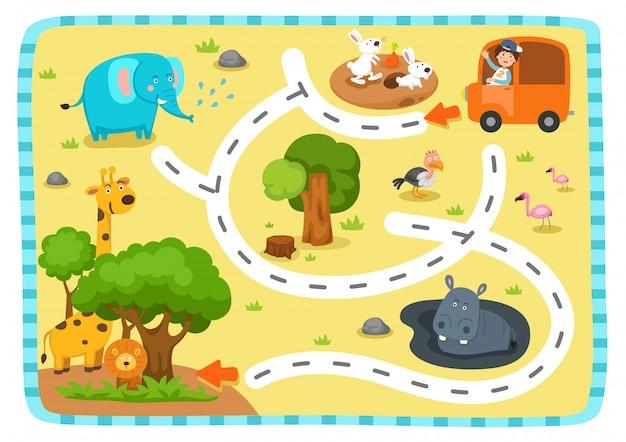 Gioco educativo del labirinto per l'illustrazione dei bambini