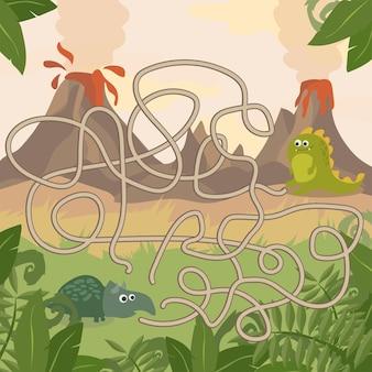 Gioco educativo del labirinto. aiuta i dinosauri a incontrarsi. divertimento per bambini in età prescolare. divertimento per bambini in età prescolare